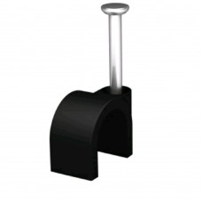 6mm Round Cable Clips Black